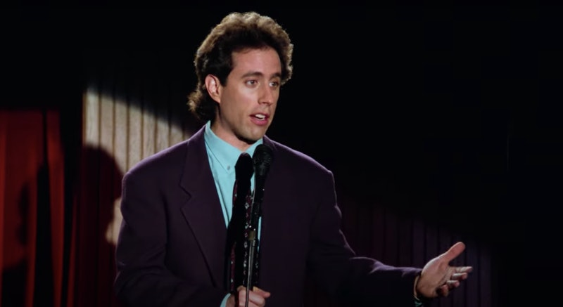 Jerry Seinfeld doing a stand-up set during the pilot episode of 'Seinfeld'.