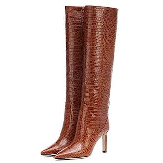 Arqa Knee High Croc Embossed Stiletto Boots