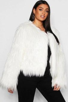 Plus Shaggy Faux Fur Jacket