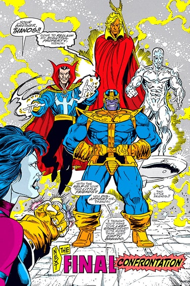 Thanos, now teamed up with the Silver Surfer, Dr. Strange, and Adam Warlock in issue #5. Artwork by ...