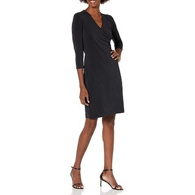 Lark & Ro Crepe Knit Faux Wrap Dress