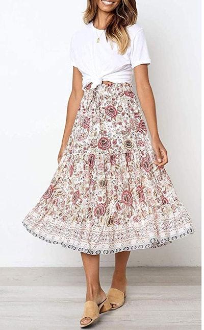 MEROKEETY Floral Print High Waist Midi Skirt