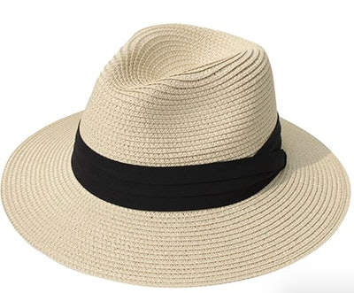 Lanzom Wide Brim Straw Panama Hat