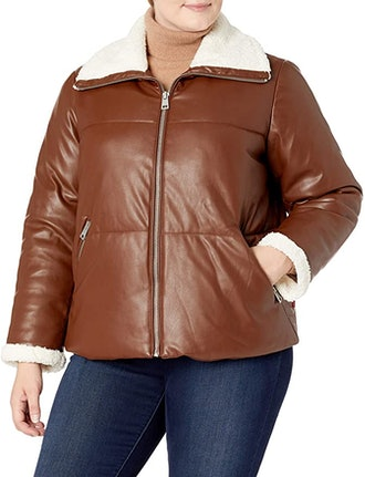 Levi's Breanna leather puffer jacket in dark brown faux leather, available to shop via Amazon.