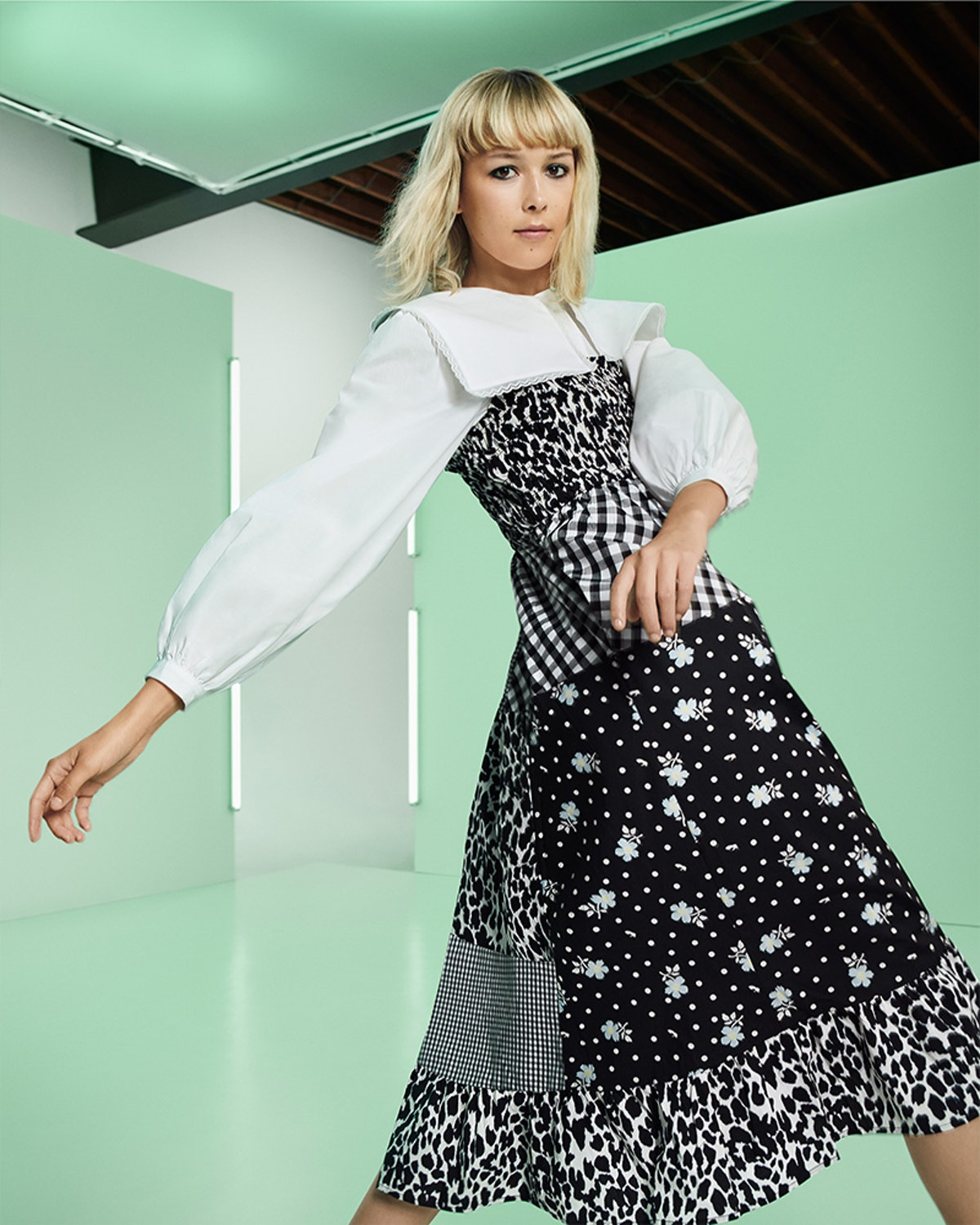 Model wears a look from Sandy Liang's line from Target's Fall Designer Collection.
