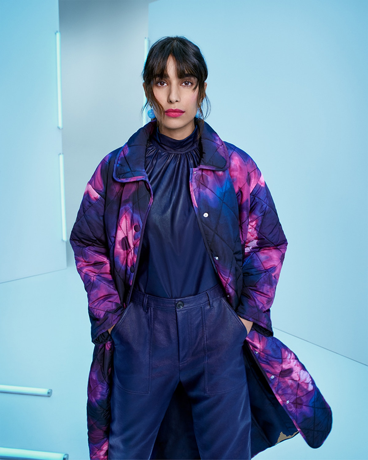 Model wears a look from Rachel Comey's line from Target's Fall Designer Collection.