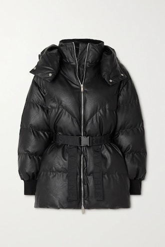 Black Kayla belted hooded quilted vegetarian leather coat from Stella McCartney, available to shop v...