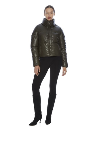 Jemma khaki faux leather puffer jacket from APPARIS.