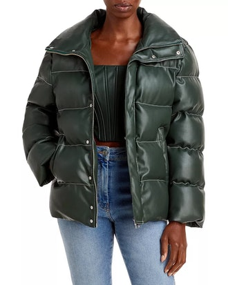 Ace vegan leather puffer coat in Cypress from STAUD, available to shop via Bloomingdales.