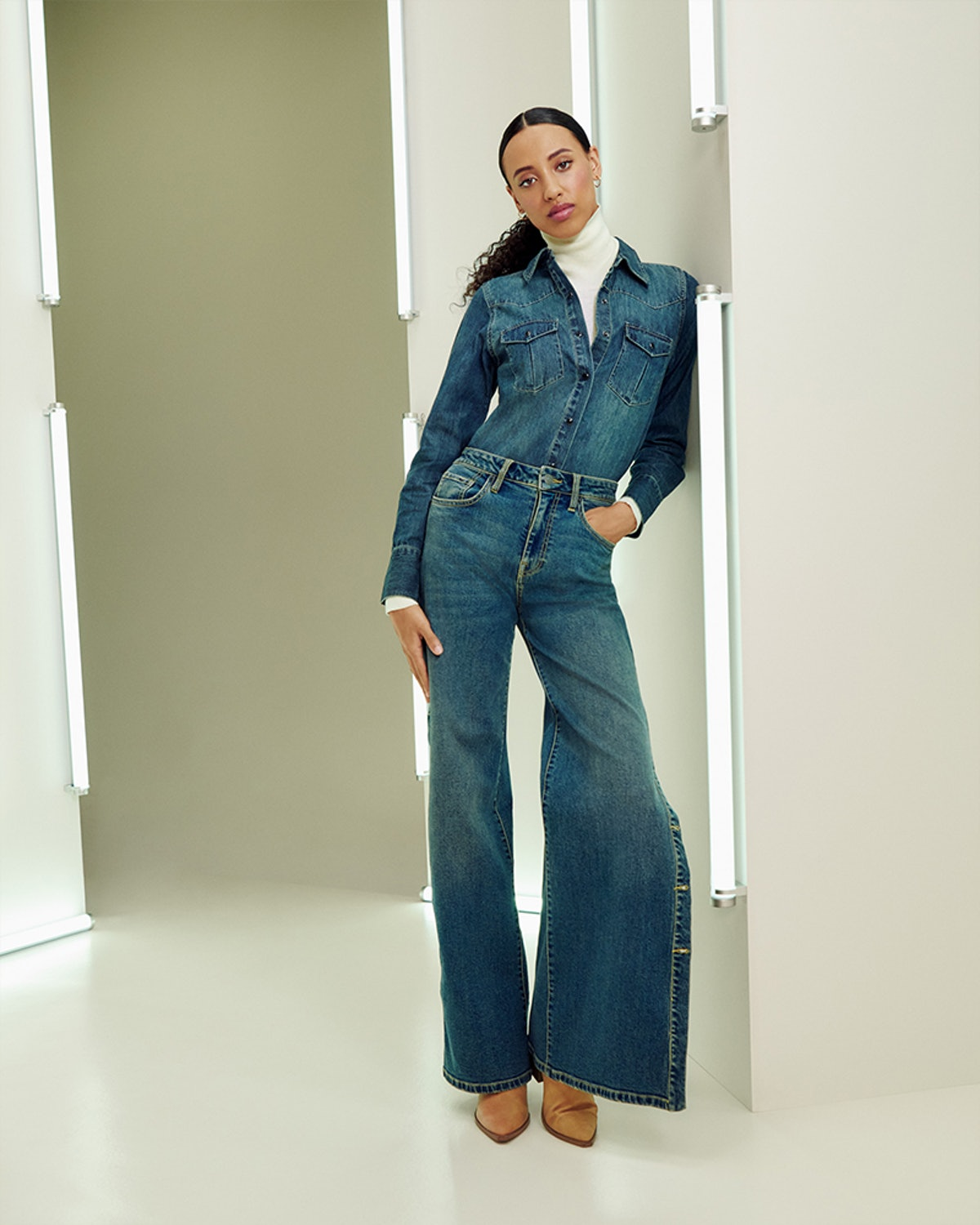 Model wears a look from Nili Lotan's line from Target's Fall Designer Collection.
