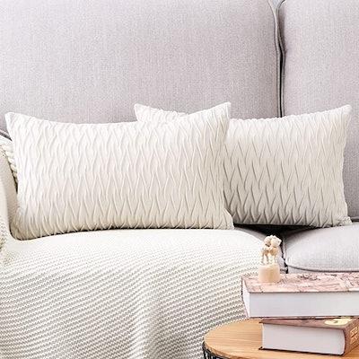 MADIZZ Super Soft Velvet Decorative Throw Pillow Covers (2-Pack)