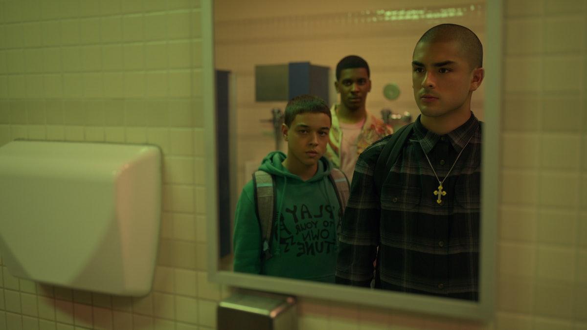 DIEGO TINOCO as CESAR, BRETT GRAY as JAMAL, and JASON GENAO as RUBY in 'On My Block' Season 4