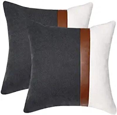 Kiuree Gray and White Throw Pillow Covers (2-Pack)