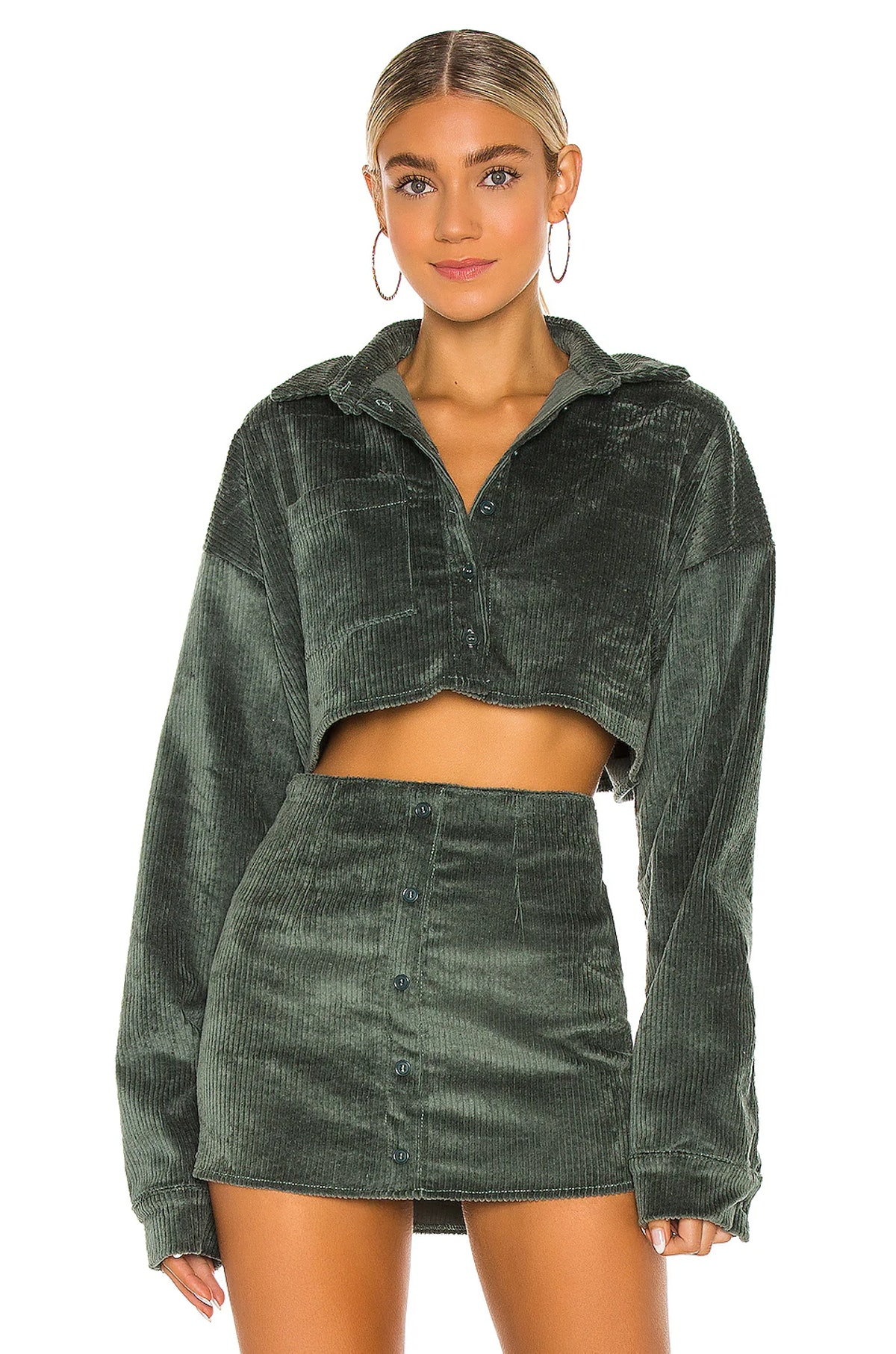 Dark green corduroy cropped shirt from Danielle Guizio, available to shop via Revolve.