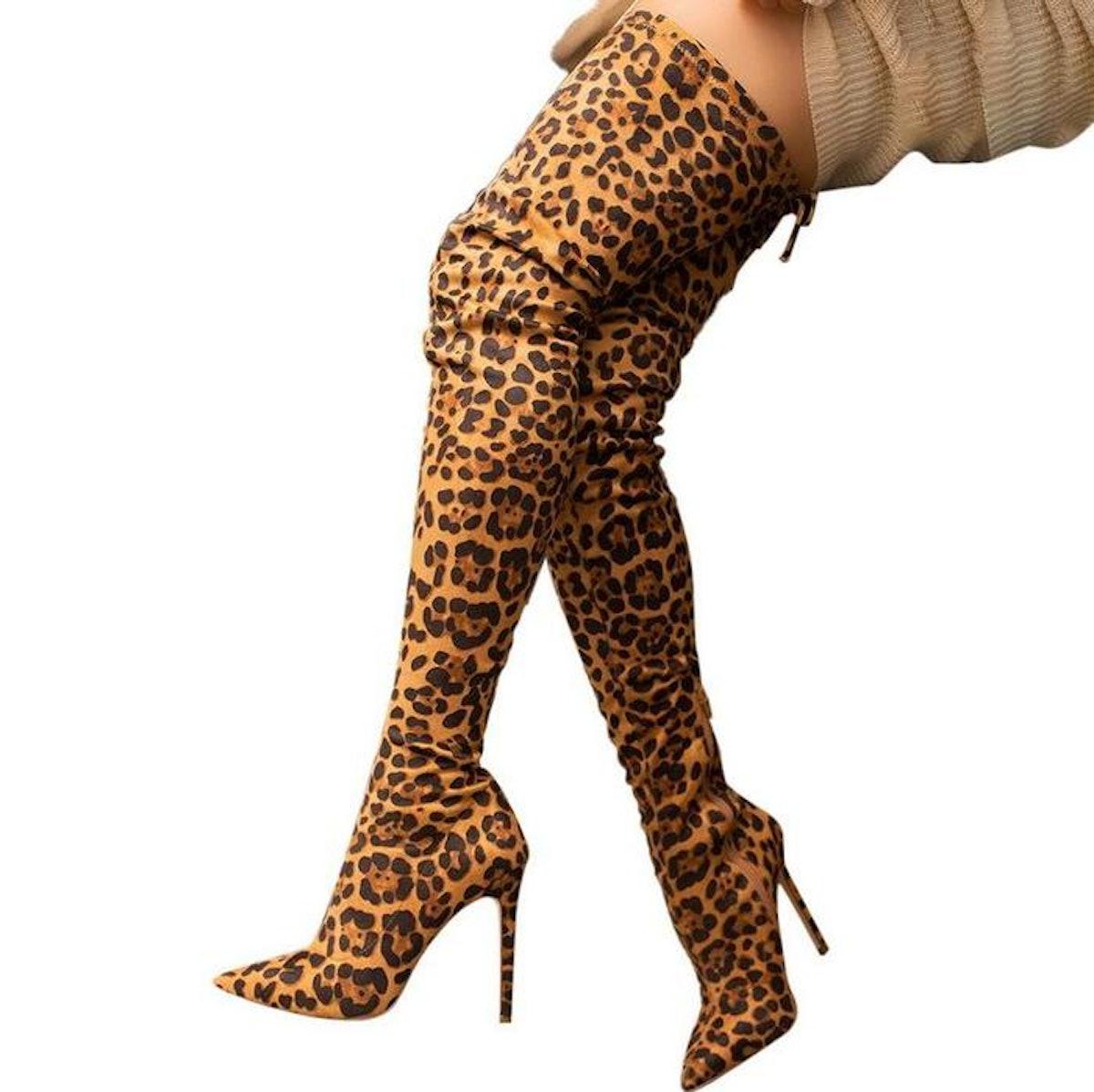 Women's Sexy Leopard Stiletto High Heel Thigh High Boots