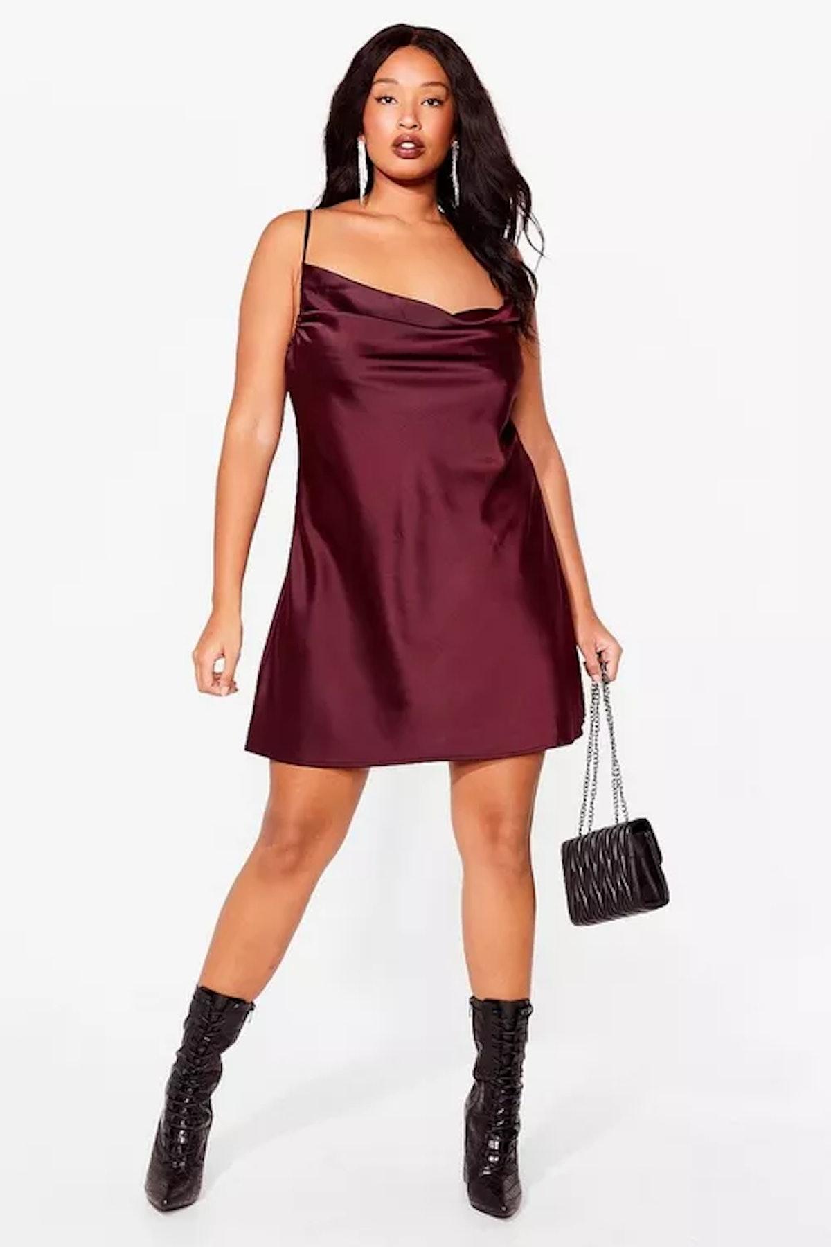 Plus Size Satin Cowl Neck Mini Dress