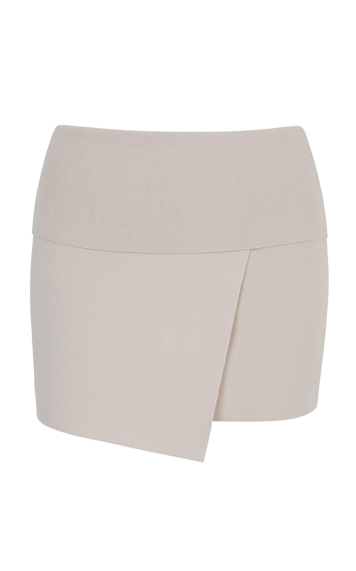 Takara crepe wrap beige mini skirt from Aya Muse.