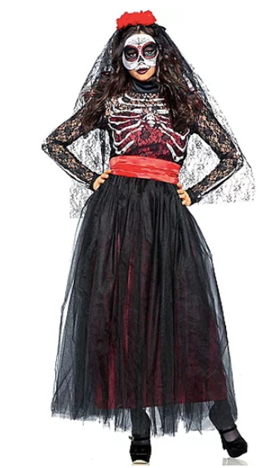 Woman dressed in day of the dead outfit