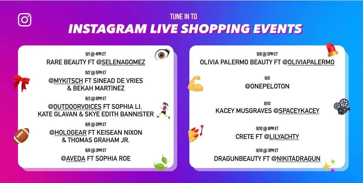 Instagram Live Shopping events allow viewers to shop products mentioned in live streams
