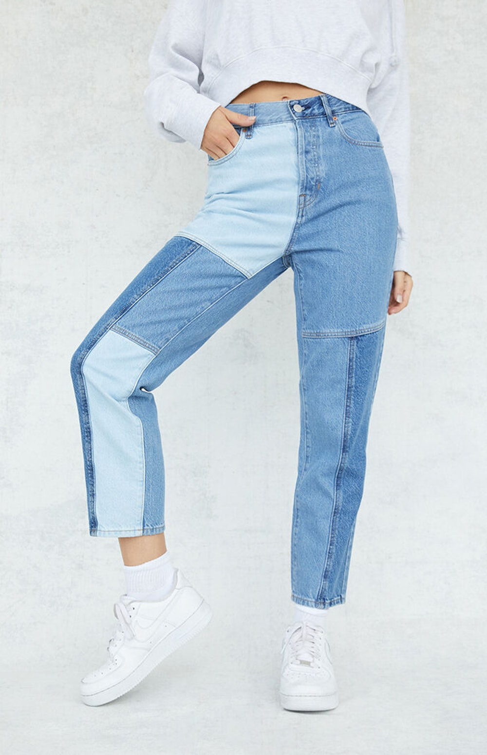 Two-Tone Blue High Waisted Straight Leg Jeans