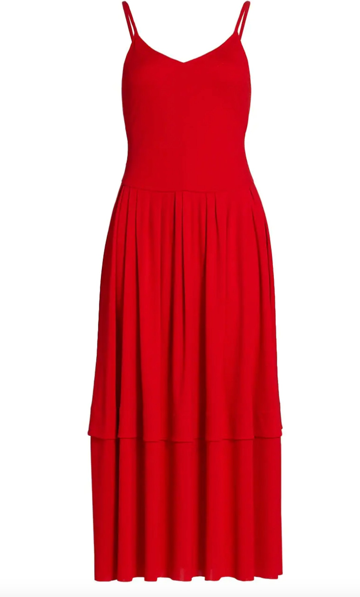 Victoria Beckham's jersey dancer midi dress in bright red.
