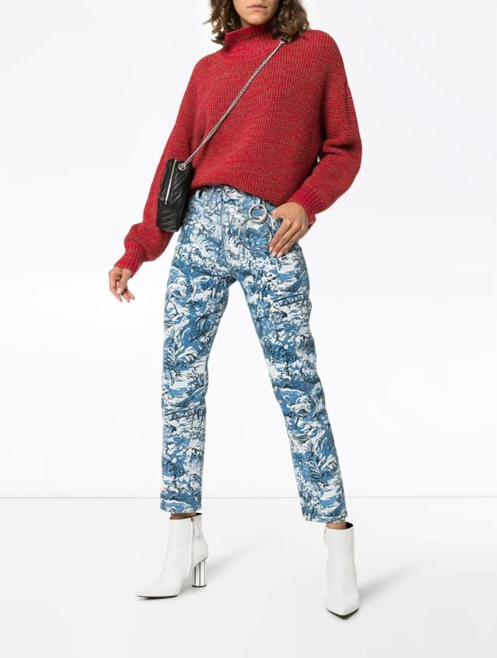 Floral-Print Straight-Leg Jeans