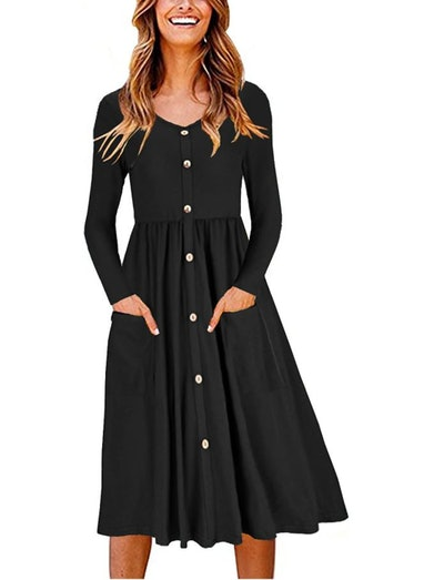 OUGES V-Neck Button Down Skater Dress with Pockets