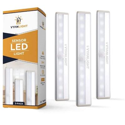 VYANLIGHT Stick-On Motion Sensor LED Lights (3-Pack)