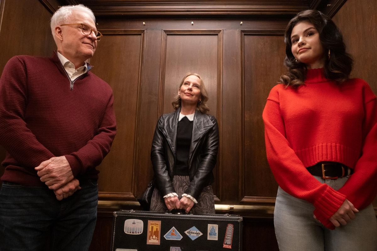 Charles (Steve Martin), Jan (Amy Ryan) and Mabel (Selena Gomez) ride the elevator in 'Only Murders I...