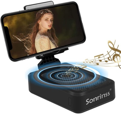Sonrinss Cell Phone Stand With Bluetooth Speaker