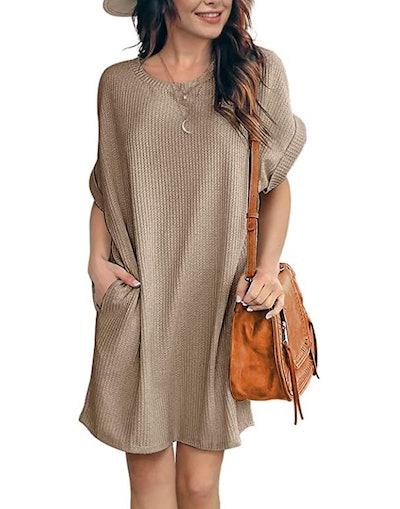 IWOLLENCE Waffle-Knit Tunic Dress