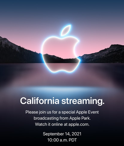 A screen shot from an upcoming Apple event for the iPhone 13