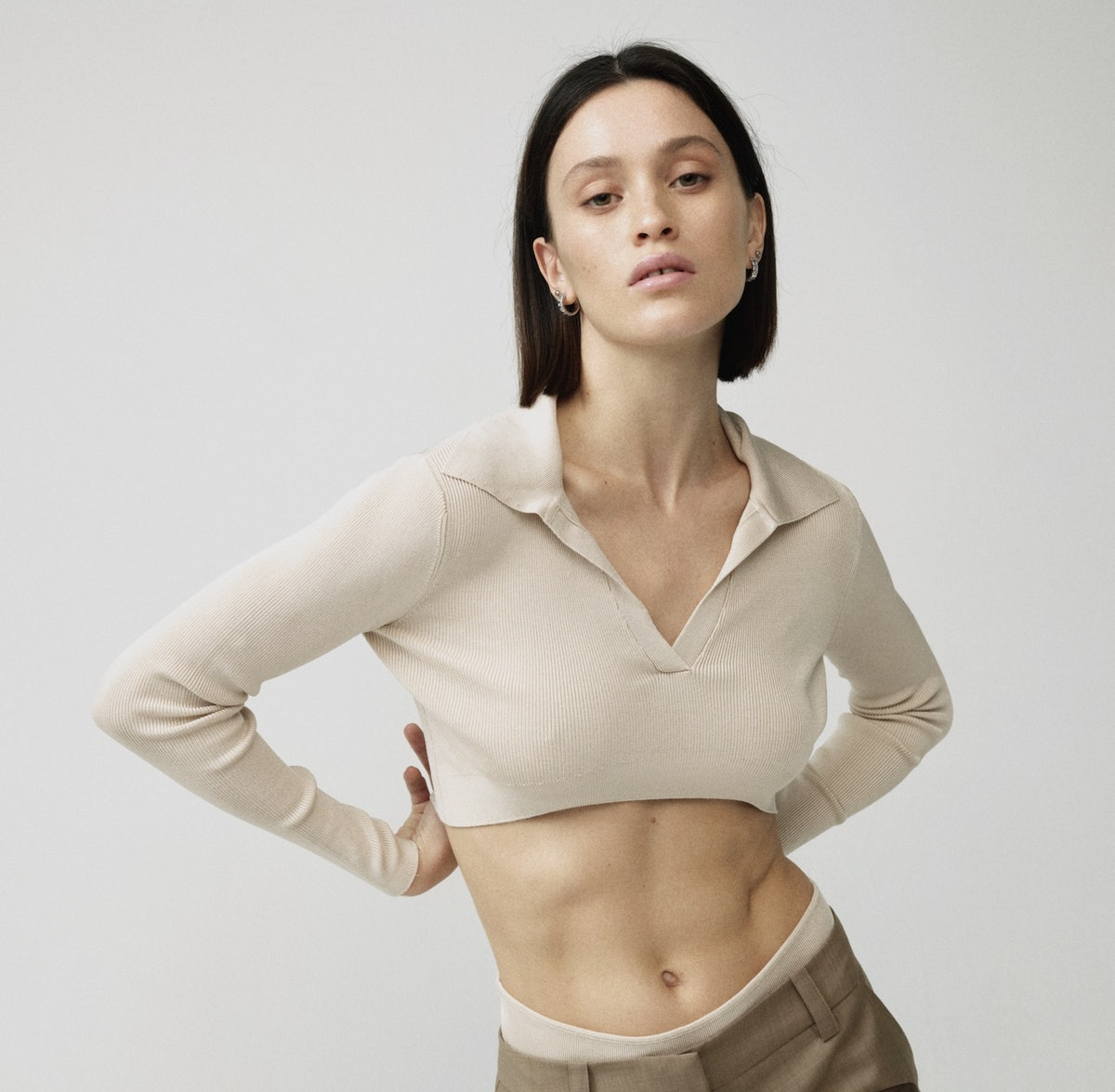 Argyros beige knit top from Aya Muse.