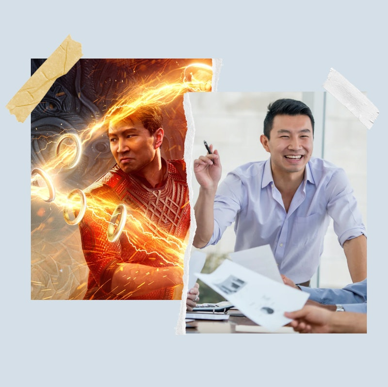 Simu Liu in Marvel's 'Shang-Chi' and in stock images from his past.