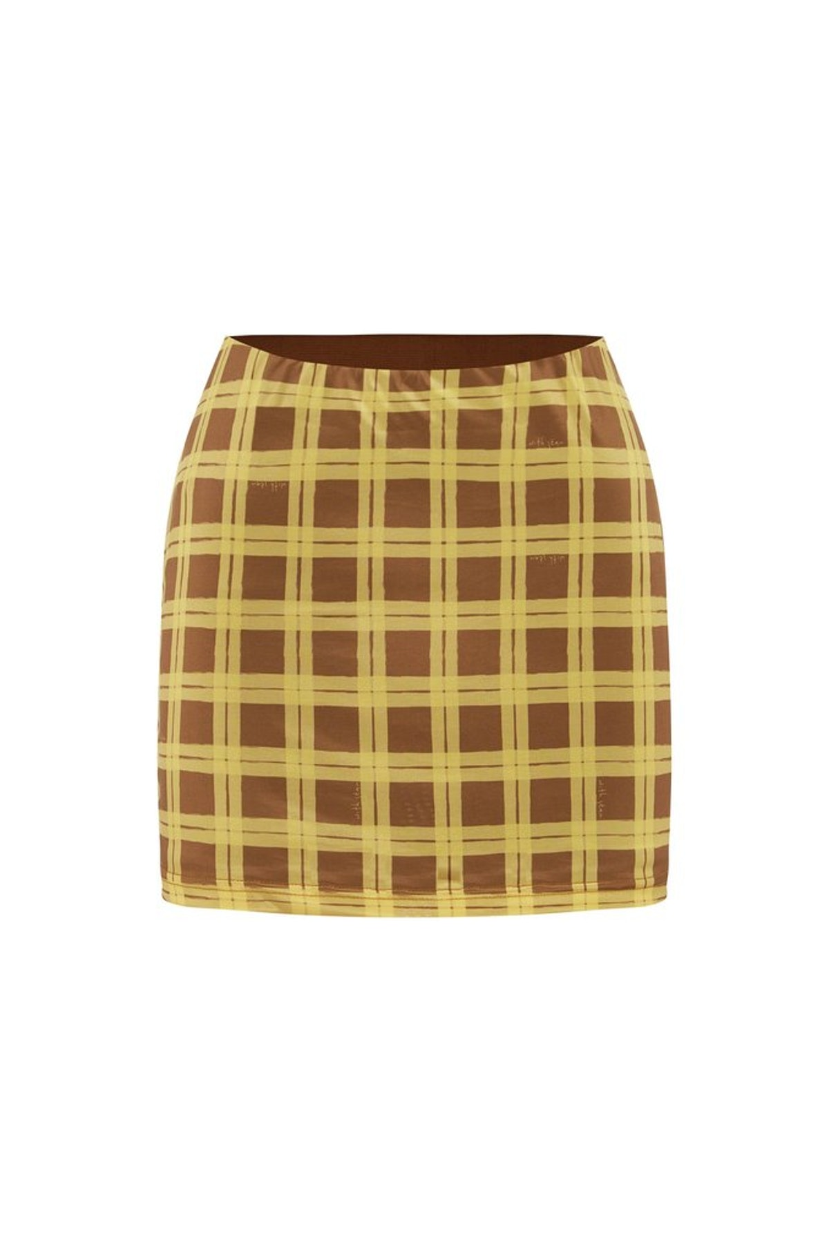 With Jéan Miles mini skirt in checkered Cher print.