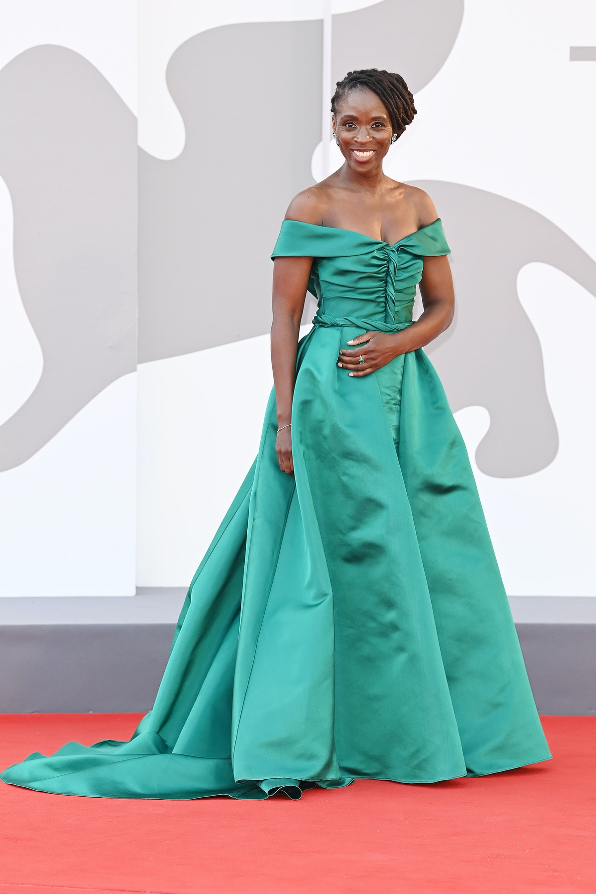 Sharon Duncan-Brewster wore an emerald off-the-shoulder gown to the Venice Film Festival in Venice, ...