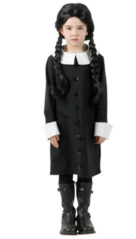 little girl dressed up in wednesday addams halloween costume