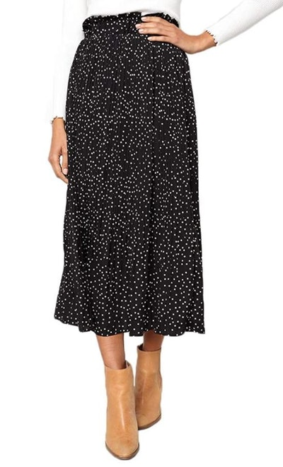 EXLURA Pleated Midi Swing Skirt