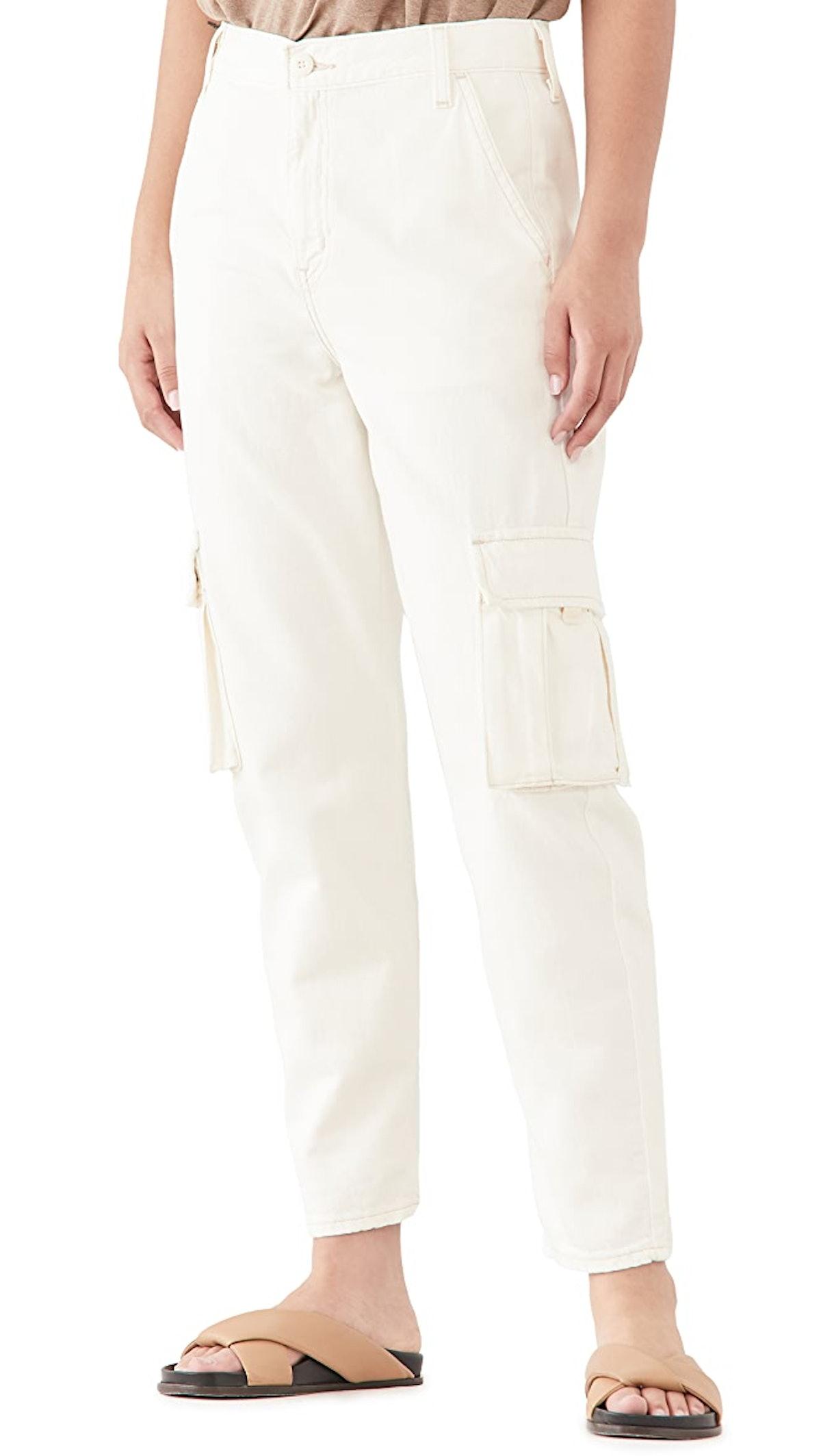 Women's Loose Cargo Jeans in Cool Ecru