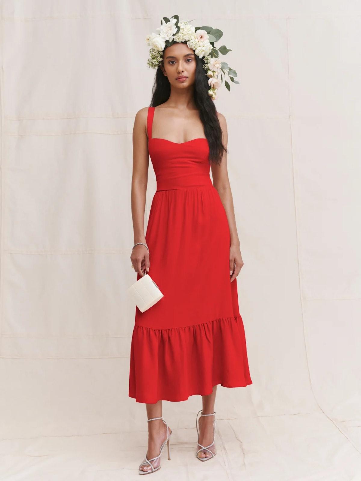 Reformation's Celestia Dress in red.