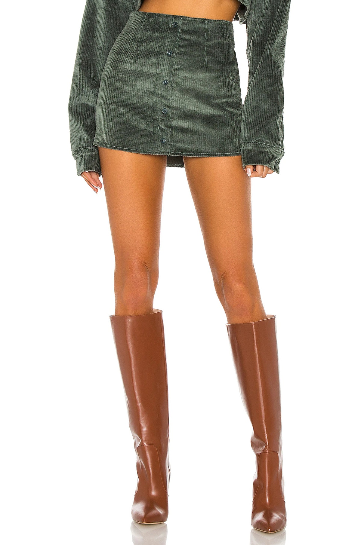 Dark green corduroy button up skirt from Danielle Guizio, available to shop via Revolve.