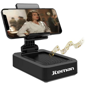JTEMAN Cell Phone Stand with Wireless Bluetooth Speaker and Anti-Slip Base