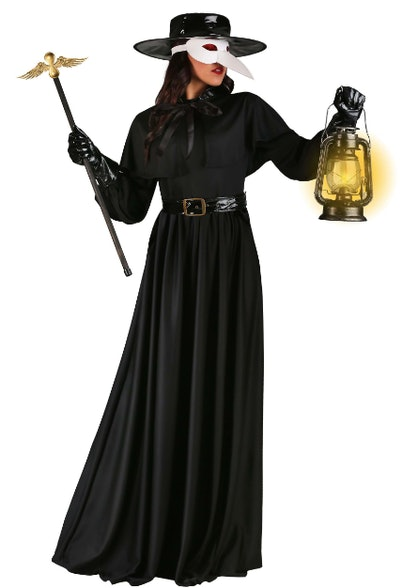 Woman dressed as in a black plague costume.