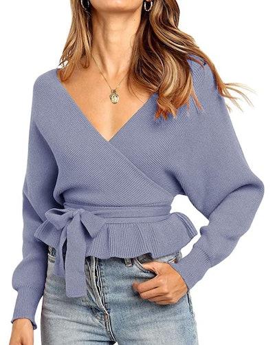 ZESICA Belted Sweater Top