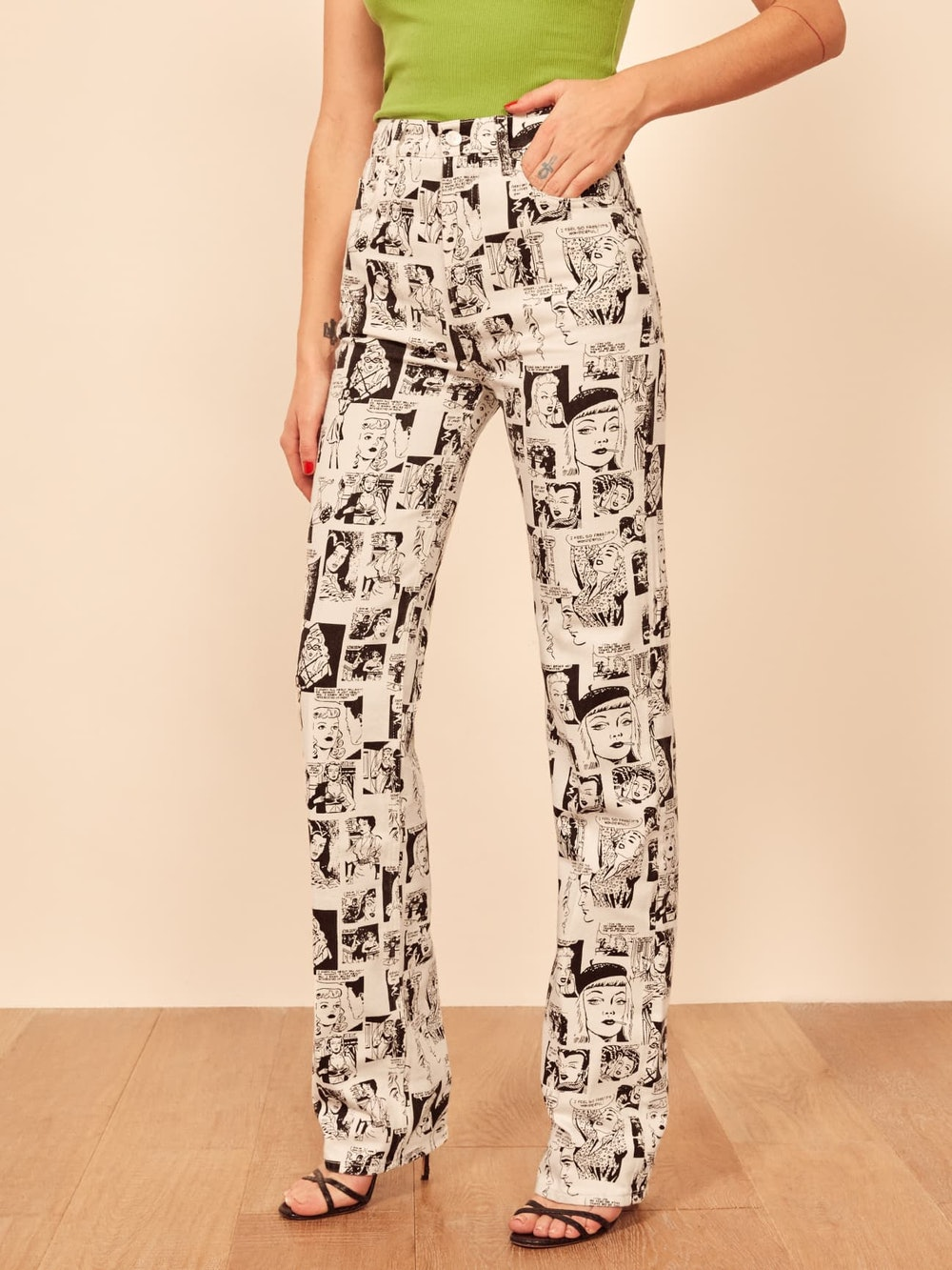 Newsprint High Rise Straight Long Jeans