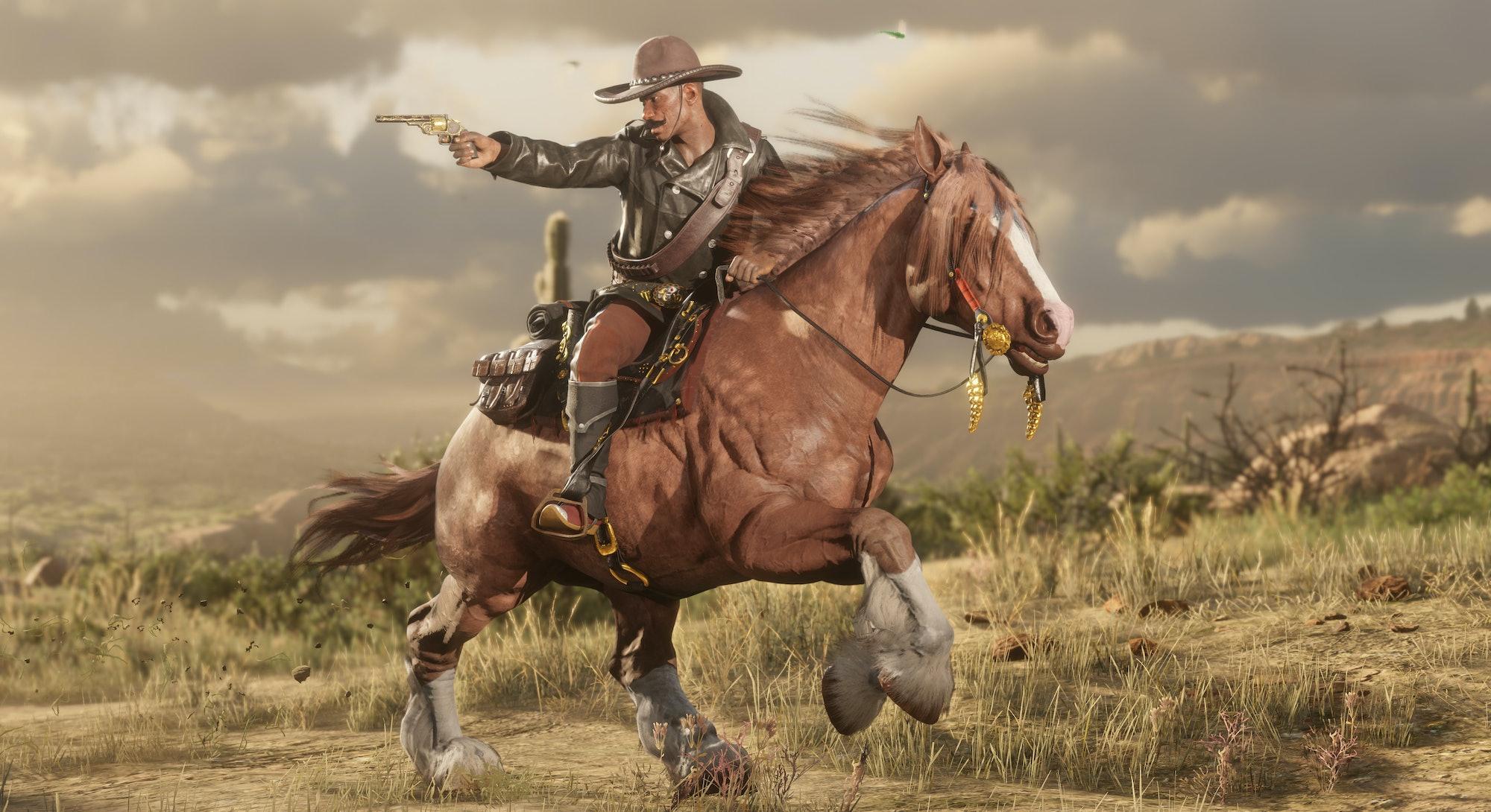 cowboy on horse firing gun in Red Dead Online promo art