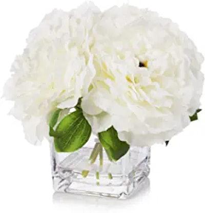 Enova Home Silk Peony Flowers Arrangement