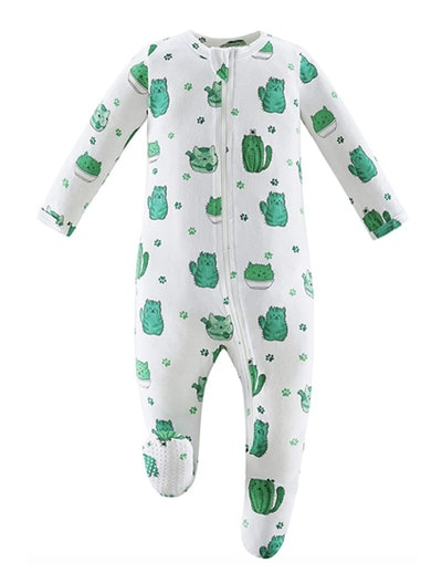Image of a bamboo-and-cotton baby footed pajama with cactus print.