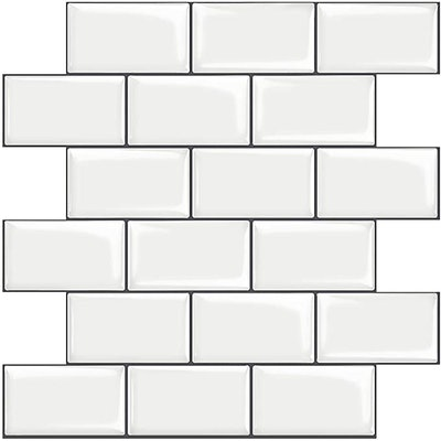 STICKGOO 10-Sheet White Subway Tiles Peel and Stick Backsplash