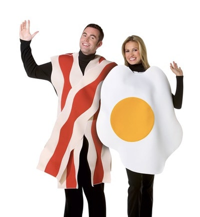 Couple dressed as eggs and bacon